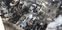 Uçak otoparka düştü