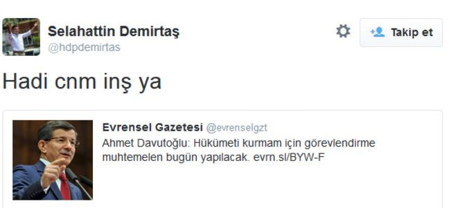 Demirtaş'tan haddi aşan tweet
