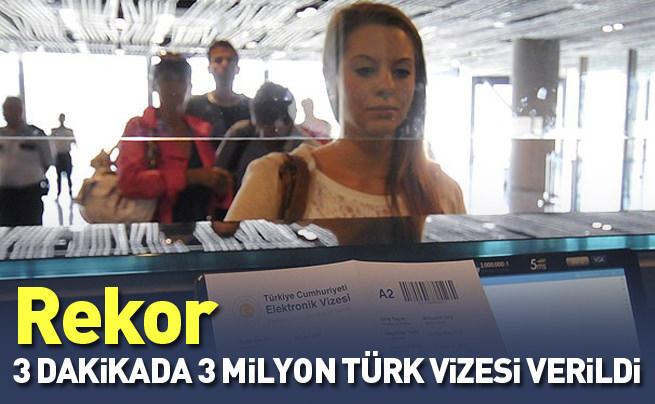 3 dakikada 3 milyon Türkiye vizesi