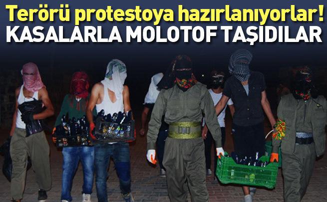 PKK'lılar kasa kasa molotof taşıdı