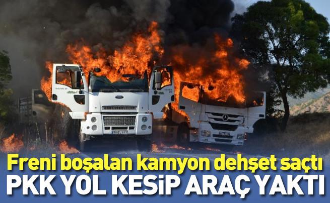 PKK'lı teröristlerin araçları yakmaları böyle görüntülendi