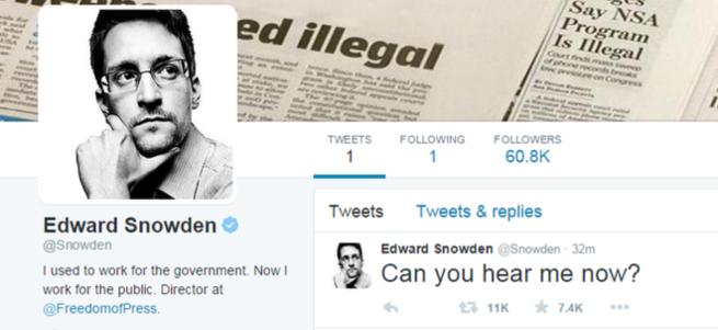 Edward Snowden Twitter'da ortaya çıktı!