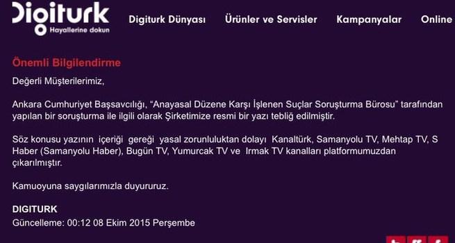 Digiturk Paralel kanallarını yayından kaldırdı