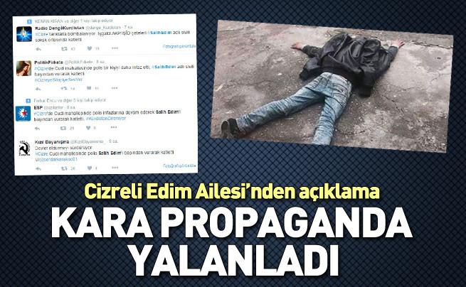 Cizre'de 11 yaşındaki Salih Edim'in öldürüldüğü haberleri yalanlandı
