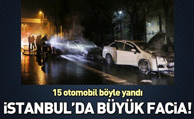 15 otomobil yaktılar, faciadan dönüldü!