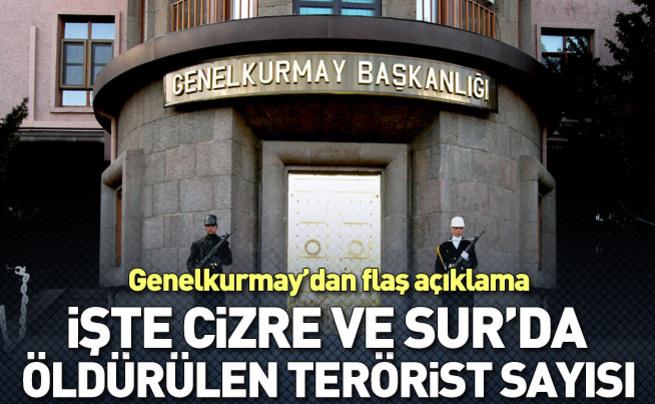 Cizre ve Sur'da 627 terörist öldürüldü