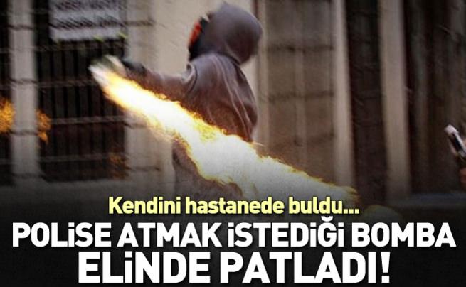 Polise atmak istediği bomba elinde patladı!