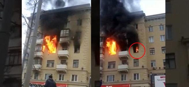 Moskova'da şoke eden yangın!