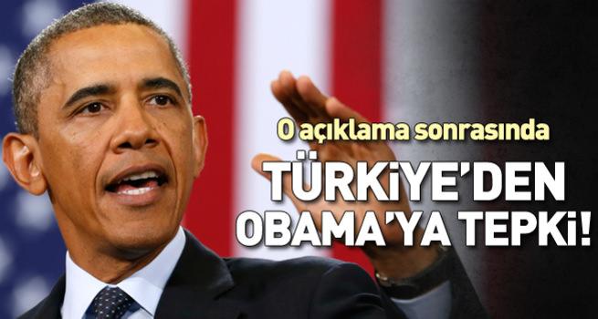 Türkiye'den Obama'ya tepki!