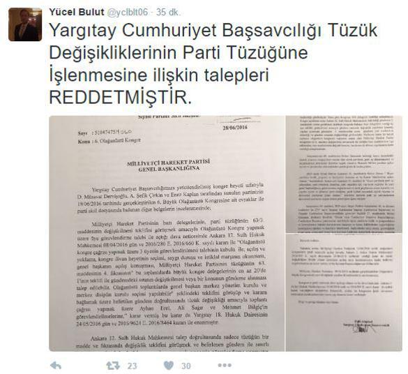 MHP'de muhaliflere Yargıtay'dan kötü haber!