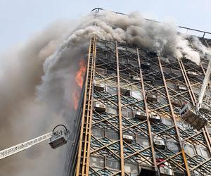 İran'ın başkenti Tahran'da 15 katlı binadaki korkunç yangından kareler