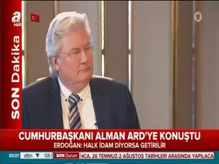 Cumhurba�kan� Erdo�an Alman ARD'ye konu�tu