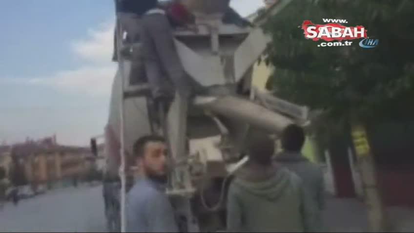 Selçuklu'da beton mikserine kafası sıkışan işçinin ölüm kalım mücadelesi